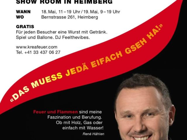 NEU-ERÖFFNUNG SHOW ROOM IN HEIMBERG 18. UND 19. MAI 2018